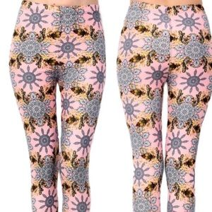 Pants - NWT Buttery Soft Pink & Gray Motif Print Leggings